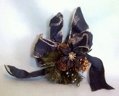 Handmade Christmas Bow Navy and Silver Wrapping by annimae182