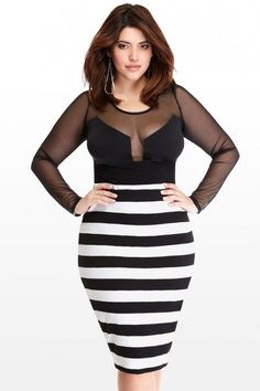 Plus Size Brooklyn Wide Stripe Pencil Skirt | Fashion To Figure