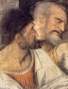 Chefes de Judas e Pedro, carvão vegetal por Leonardo Da Vinci (1452-1519, Italy)