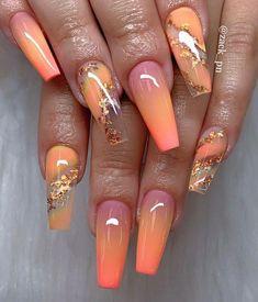 Summer Acrylic Nails, Best Acrylic Nails, Acrylic Nail Designs, Orange Nail Designs, Orange Acrylic Nails, Fall Nail Art Designs, Creative Nail Designs, Sexy Nails, Hot Nails