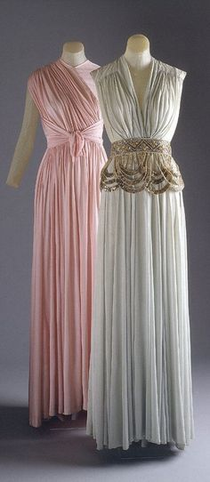 """The beaded drapey belt- Evening dresses by Madame Gres, 1939. """""""