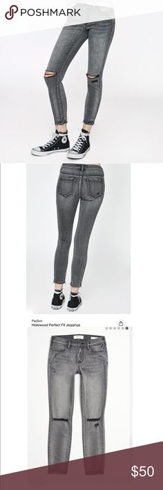 NWT Pacsun Dark Grey Ripped Ankle Jegging Pants Size 24. NWT. So cute. No low balls !! The fit is so comfortable and flattering. PacSun Jeans