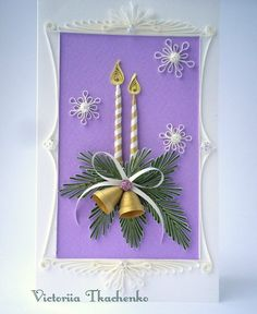 Quilling Greeting card - Christmas quilling card - New Year quilling card - Enchanting Christmas candles