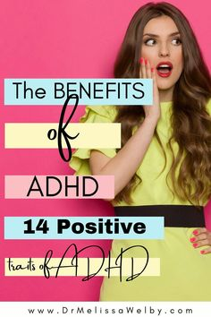 The benefits of ADHD exist. Many people with ADHD flourish despite challenges. There are positive traits of ADHD. Enhance them with these 14 ADHD benefits! ADHD strategies for kids. ADHD symptoms. ADHD diet. ADHD problems. #mentalhealth #mentalhealthawareness #ADHDtips