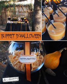 Buffet d'Halloween - Bar à bonbons orange noir chocolat - Décoration de table - Idée table d'Halloween