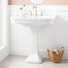 "Kacy Pedestal Sink - Large - 8"" Widespread - White [Sink + trim + paint color]"