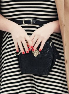 Short reds are a great contrast to this springs black and white trend!