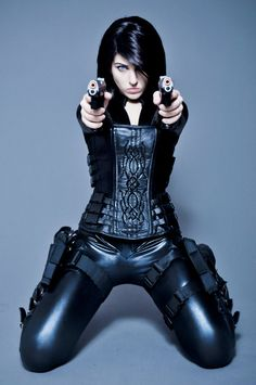 Future Girl, Girl with Guns, Futuristic Clothing, Girl in Black, Futuristic…