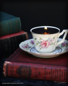 DIY Victorian Gothic Black Tea Cup Candles - Goth It Yourself Candlemaking - How to Make Candles - Vintage Tea Cup Trash to Treasure - Alice in Wonderland Tea Party - www.MeandAnnabelLee.com - - Blog for all things Dark, Gothic, Victorian, & Weird