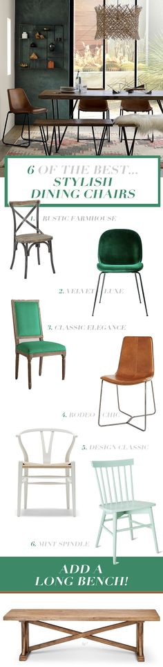 Stylish dining chairs - velvet, leather and wood chairs
