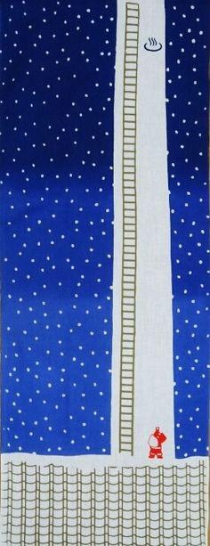 えんとつサンタ〈かまわぬ〉|手ぬぐいショー Japanese Textiles, Japanese Fabric, Japanese Design, Japanese Art, Maneki Neko, Japanese Outfits, Typography Prints, Japan Fashion, Fabric Painting