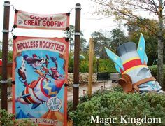 Reckless Rocketeer sign near the Barnstormer with the Great Goofini ride in the Storybook Circus area of the Magic Kingdom at Disney World. / Receive a list of 45 Great Free Things at Disney World and printable vacation planning e-guides when you subscribe to our free Disney-focused e-newsletter.  http://www.buildabettermousetrip.com/disney-freebies/
