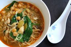 Curried Chicken Noodle Soup with Spinach and Chick Peas