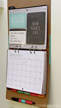 Can adapt to make a wall mounted binder for command center - easy page turning to see months ahead.