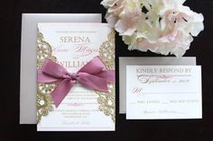 Rose and Gold Invitation-TRUE BLUSH