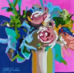 Oil Painting by Kate Mullin. www.katemullinart.com  flower paintings thick paintings Oil paintings pink