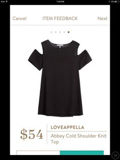 Loveappella Abbey cold shoulder knit top. Black & available in other colors. Stitch Fix 2017 fashion #sponsored #stitchfix