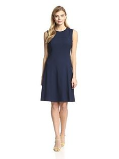 Magaschoni Women's Sleeveless Fit-and-Flare Dress (Midnight)