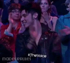 Andy Biersack cheering on girlfriend Juliet Simms after her performance on the Voice, I cannot explain just how much I love these two and how cute they are together and how sweet it is that he cheered her on <3