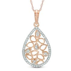 Shimmering with elegance, this blissful fashion pendant is a great everyday look. Crafted in precious 10K rose gold, this glistening teardrop-shaped dangle is centered by a continuous pattern of smaller open teardrop-shaped designs and duos of sparkling diamond accents. A textured border of 10K white gold and additional diamond accents completes the style. Buffed to a brilliant luster, this pendant suspends along an 18.0-inch rope chain that secures with a spring-ring clasp.