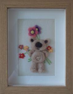 Bear and Flowers Needle Felt Picture, Handcrafted, Merino Wool, 3D Wall Art, Teddy Bear, Felt Bear, Bunch of Flowers by MerinoCreations on Etsy https://www.etsy.com/listing/125802619/bear-and-flowers-needle-felt-picture
