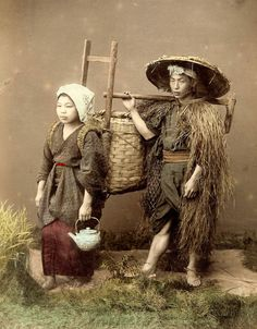 https://flic.kr/p/4yEeo9 | OFF TO THE FIELDS -- A Rustic Japanese Farmer and his Wife | Ca. 1880s studio image by K. [Kimbei] Kusakabe. She wished she could have been a Geisha. He wished she WAS a Geisha. [Actually, she most likely IS a Geisha, modeling for a day, as many of them did in rustic views such as these.]  日下部 金兵衛  (1841 - 1934)