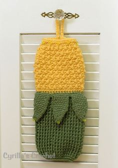 -Bag Holders Crochet Product - Yellow Corn Plastic Bag Holder