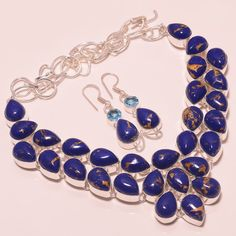 94 GM AMAZING COPPER LAPIS TURQUOISE WITH EARR. .925 STERLING SILVER NECKLACE #Handmade
