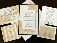 Tropical and striped letterpress wedding invitation from Chic Ink