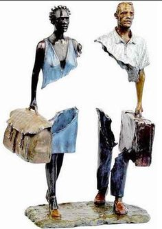 (to leave your country and leave there a part of yourself …) Sculpture by Bruno Catalano Contemporary Sculpture, Contemporary Art, Street Art, Sculpture Metal, French Sculptor, Recycled Art, Belle Photo, Black Art, Oeuvre D'art