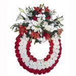 Corona de flores para funeral de color blanco y rojo
