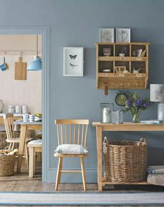 From Ideal Home Magazine. Love the wall mounted mini shelves.