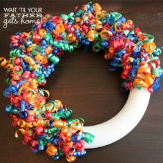 Make this Birthday Celebration Wreath with curling ribbon that goes with your party& theme and decor! You can re-use it year after year!{Birthday Celebration Wreath} - Wait Til Your Father Gets HomeBirthday Wreath- use teal gold for blaines bdayWhat Wreath Crafts, Diy Wreath, Diy Crafts, Tulle Wreath, Wreath Ideas, Ribbon Wreath Tutorial, Balloon Wreath, Candy Wreath, Snowflake Wreath