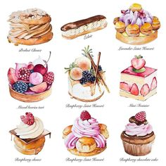 TOP Watercolor Gallery on More art every day on watercolor_daily us and use . Patisserie Design, Mini Patisserie, Boutique Patisserie, Patisserie Vegan, Patisserie Sans Gluten, Dessert Illustration, Illustration Simple, Illustration Vector, Food Art Painting