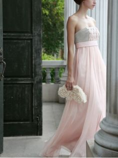 Grecian Pink and Gray Strapless Long Evening Dress