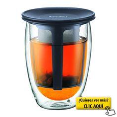 Bodum Tea For One - Tetera individual, 0,35 l, vaso térmico de borosilicato, filtro y tapa de plástico, color negro #taza #te