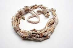 Natural colors knit necklace with bamboo beads OOAK. $93.00, via Etsy.
