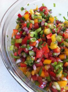 Homemade salsa - similar to pico.  Use on eggs, lean chicken/fish, or on steamed broccoli/cauliflower.  I'm going to make it this Sunday during prep day to keep for the week. #salsa #eatclean