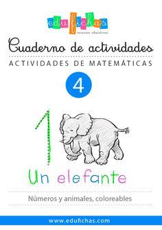Cuaderno para niños con fichas de números y temática de animales.   #worksheets #numbers #niños #infantil #kids #kinder #prekinder #preschool