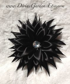 Kanzashi Satin hair clips  Black Flower hair by DivineGarden, $21.99