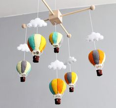 vintage hot air balloon baby mobile  orange grey by ButtonFaceCo, £70,00