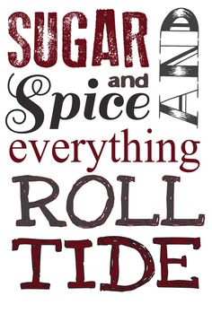 University of Alabama wall decor, nursery, girls room. Roll tide. Sugar and spice by jeuneAntique on Etsy