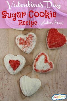 Gluten Free Valentine's Day Sugar Cookies Recipe are perfect treats for your kids to take to school and share with the class!