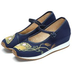 Embroidery Floral Women Lace Up Casual Outdoor Flats