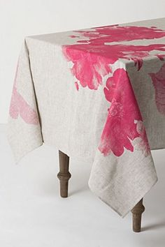 Begonia Tablecloth | Anthropologie.eu - company called Bonnie and Neil. $215, beautiful watercolor hot pink one too