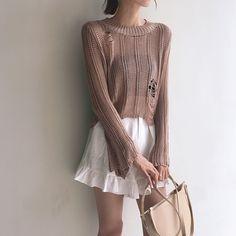 Вязаный прозрачный свитер бежевый/черный/коричневый :: Op Shop!
