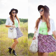 Get this look: http://lb.nu/look/8326759  More looks by Lily S.: http://lb.nu/pslilyboutique  #losangeles #ootd #fashion #fashionnblogger #skirt #top #hat #bag #sunglasses #lafashionblogger
