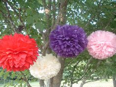 4 Tissue paper pom poms, Wedding decorations, Baby, Bridal shower, Rehearsal, Party decorations. Hanging pom poms. Hanging flower ball. #HEPTEAM