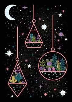 Carly Watts Illustration: Little Worlds #space #illustration #galaxy #terrarium #graphicdesign