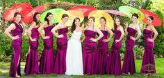 Sunset Inspired Jewish Wedding NJ - Purple Bridesmaids with Parasols {Venue: Crystal Plaza NJ, Ron Soliman Photojournalism} - mazelmoments.com